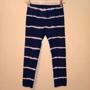 Hard Tail Blue White Tie Dye Capris Leggings Small